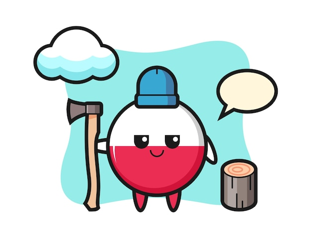 木こりとしてのポーランド国旗バッジのキャラクター漫画