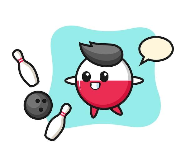 ポーランド国旗バッジのキャラクター漫画がボウリングをしている