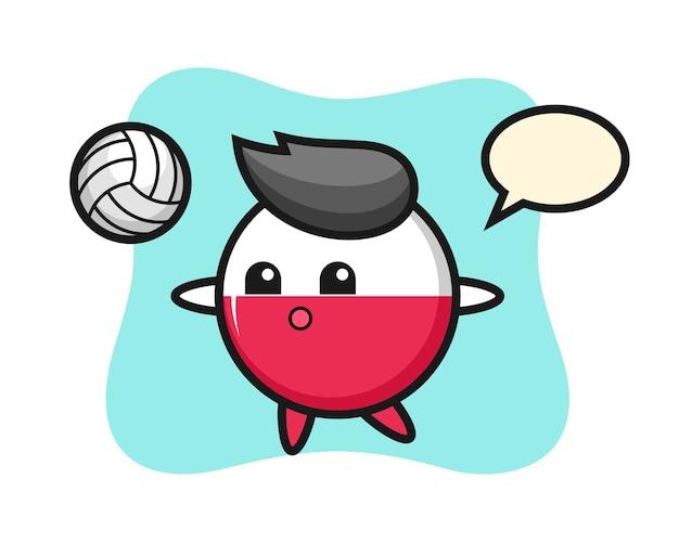 ポーランドの旗バッジのキャラクター漫画はバレーボールをしています