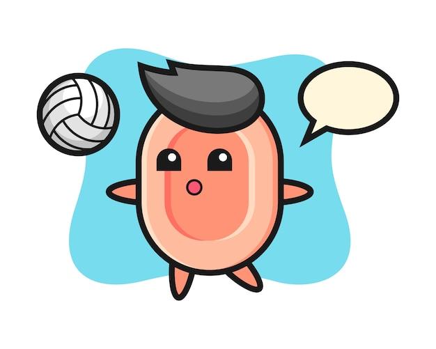 石鹸のキャラクター漫画がバレーボール、tシャツ、ステッカー、ロゴ要素のかわいいスタイルを遊んでいます。