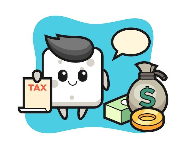Персонаж мультфильма из сахарного кубика в качестве бухгалтера, милый стиль для майки, стикера, логотипа