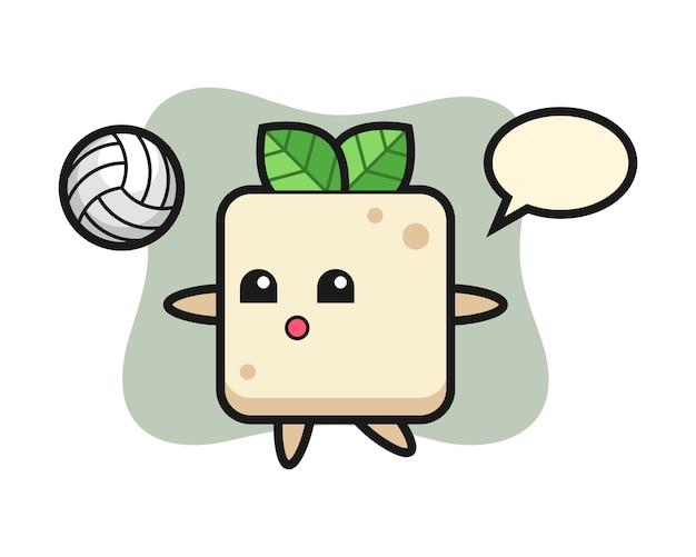 Персонаж мультфильма тофу играет в волейбол, симпатичный дизайн стиля для футболки