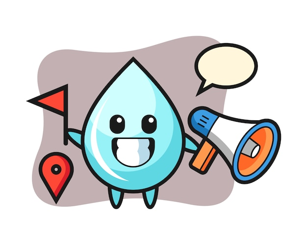 Персонаж мультфильма из капли воды в качестве гида, милый дизайн стиля для футболки