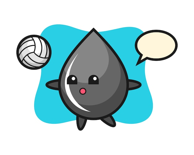 Character cartoon of oil drop is playing volleyball