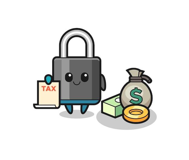 Character cartoon of padlock as a accountant