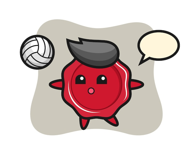 Character cartoon of sealing wax is playing volleyball