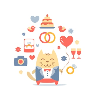 Character cat groom in a wedding suit holding a  balloon