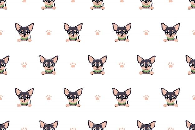 Character chihuahua dog seamless pattern