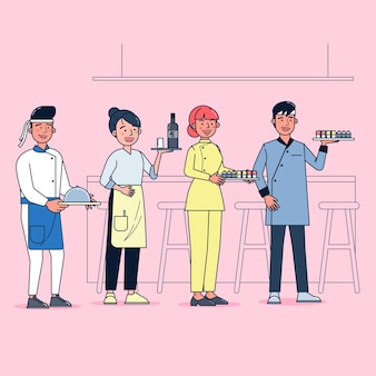 Character collection of catering big set isolated flat   illustration wearing professional uniform, cartoon style