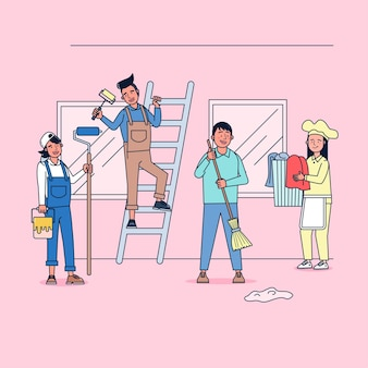 Character collection of cleaner big set isolated flat   illustration wearing professional uniform, cartoon style