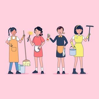Character collection of cleaners big set isolated flat   illustration wearing professional uniform, cartoon style