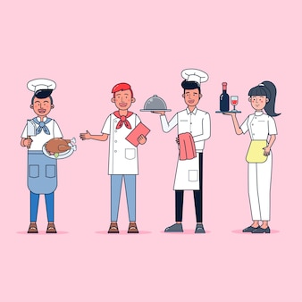 Character collection of cook big set isolated flat   illustration wearing professional uniform, cartoon style
