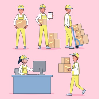 Character collection of delivery guy big set isolated flat   illustration wearing professional uniform, cartoon style