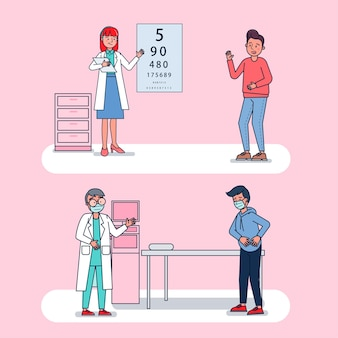 Character collection of doctors big set isolated flat   illustration wearing professional uniform, cartoon style on hospital theme