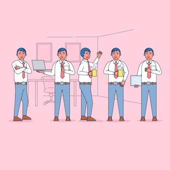 Character collection of employees big set isolated flat   illustration wearing professional uniform, cartoon style.