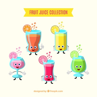 Character collection of fruit juices