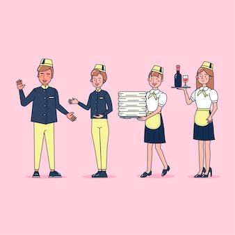 ホテルをテーマにプロの制服、漫画スタイルを身に着けているケータリングの大きなセットの孤立したフラットイラストのキャラクターコレクション