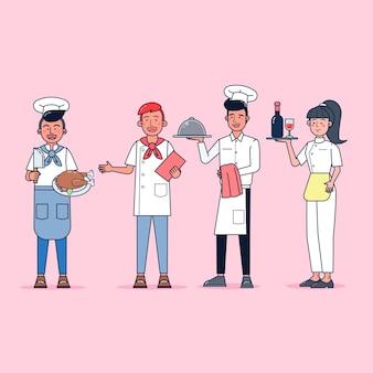요리사의 캐릭터 컬렉션은 전문 유니폼, 만화 스타일을 입고 고립 된 평면 그림을 설정