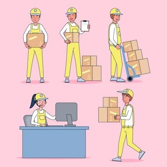 プロの制服、漫画スタイルを身に着けている配達人の大きなセット孤立したフラットイラストのキャラクターコレクション
