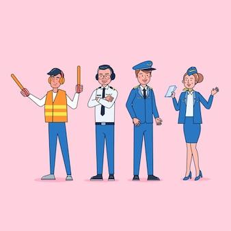 プロの制服、漫画スタイルを身に着けているパイロット&スチュワーデスビッグセット孤立したフラットイラストのキャラクターコレクション