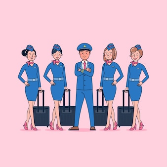 Character collection of pilot & air hostess big set isolated flat   illustration wearing professional uniform, cartoon style