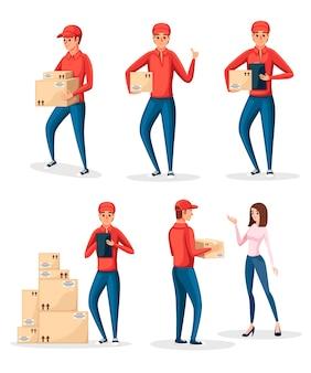 Коллекция персонажей - доставщик в разных ситуациях. картонные коробки. курьер в красной форме. мультипликационный персонаж . иллюстрация на белом фоне