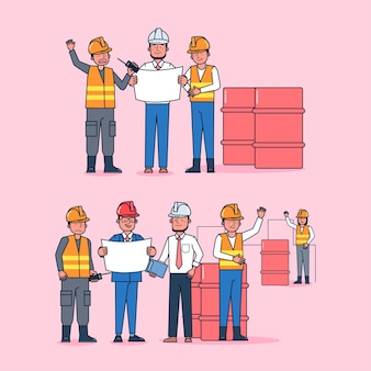 Character collection of worker big set isolated flat   illustration wearing professional uniform, cartoon style on oil mines theme