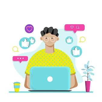 Персонаж общается в социальных сетях на компьютере. плоские векторные иллюстрации.