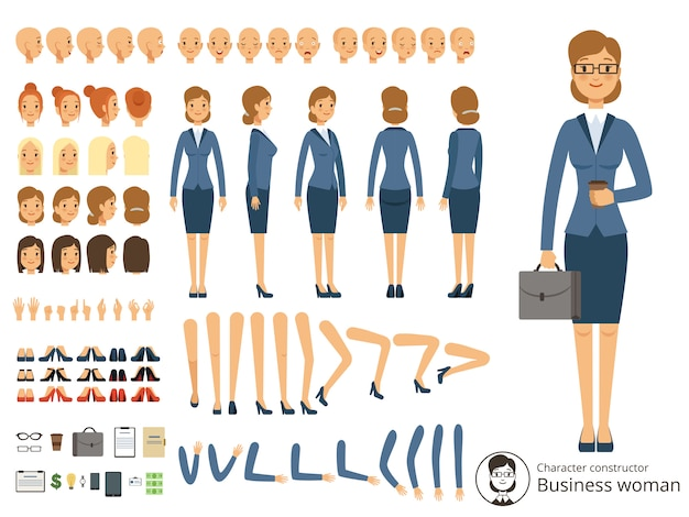 Character constructor of business woman. cartoon vector illustrations of different body parts and th