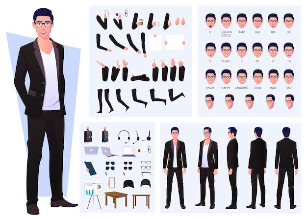 Character constructor with business man wearing suit and glasses, hand gestures, emotions and lip sync