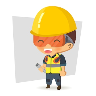 Character constructor worker in various situations.  illustration, concept : safety and accident, industrial safety.