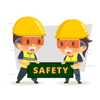 Character constructor worker in various situations.  vector illustration, concept : safety and accident, industrial safety.