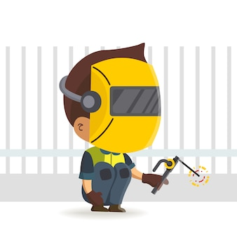 Character constructor worker of a welder character holding a torch/ welding cartoon
