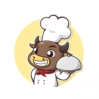 Character cow take a chef dress and steak holder