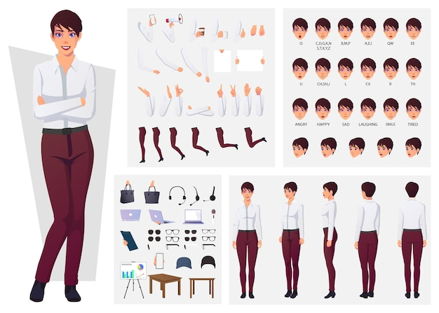 Character creation set with woman wearing pants and white shirt for animation and presentation design