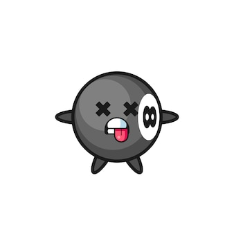 Character of the cute 8 ball billiard with dead pose , cute style design for t shirt, sticker, logo element