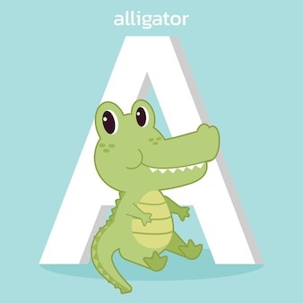 The character of cute alligator with a font