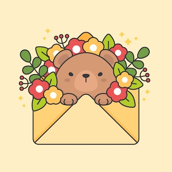 Character of cute bear in an envelope with flowers and leaves