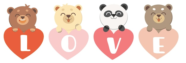 The character of cute bear garps a love heart in flat vector style