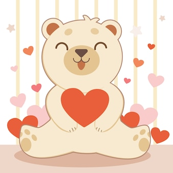 The character of cute bear hugging a big red heart