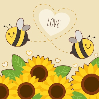 The character of cute bee flying on the sky with sunflower and text of bee happy.