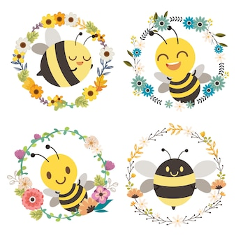 The character of cute bee sitting in to the center of flower wreath