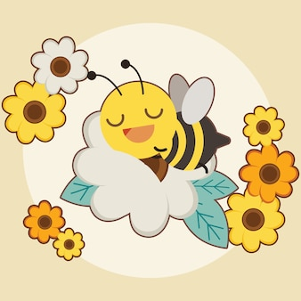 The character of cute bee sleepping on the white flower with orange and yellow flower