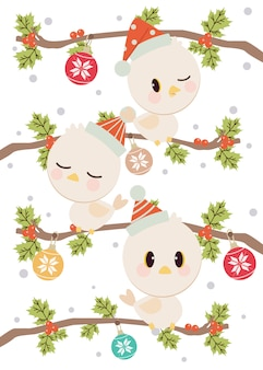 The character of cute bird wear a winter hat standing on the branch with a holly leaves. the tracery of snowflakes on the christmas ball.