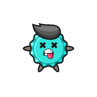 Character of the cute bottle cap with dead pose , cute style design for t shirt, sticker, logo element