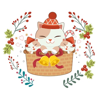 Character of cute cat and baby cats sitting in the basket