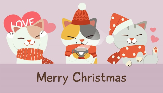 Character of cute cat in christmas.