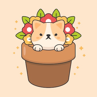 Character of cute cat in a flowerpot