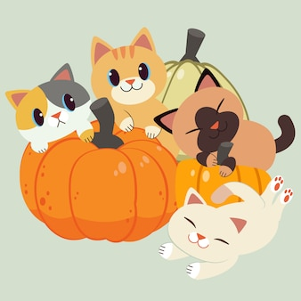 The character of cute cat and friend sitting and playing with a pumpkin.