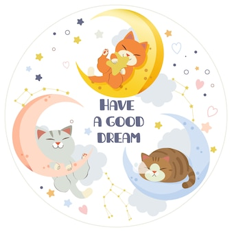 The character of cute cat and friends sleeping on the moon with star